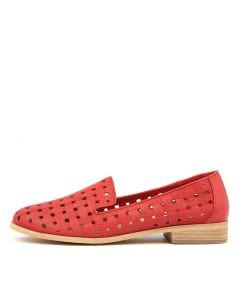 QIANA RED EMBOSSED LEATHER
